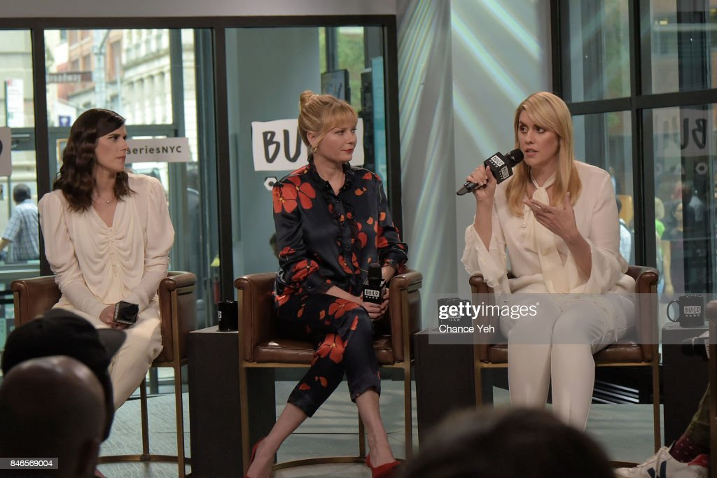 Laura Mulleavy, Kirsten Dunst and Kate Mulleavy attend Build series to discuss 'Woodshock' at Build Studio on September 13, 2017 in New York City.