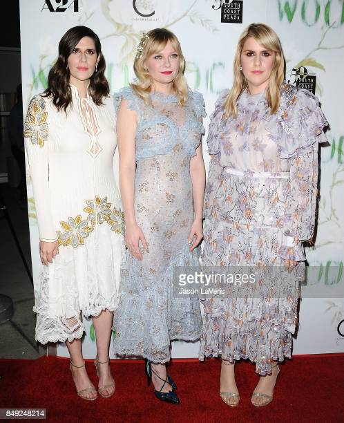 Laura Mulleavy Kirsten Dunst and Kate Mulleavy attend the premiere of 'Woodshock' at ArcLight Cinemas on September 18 2017 in Hollywood California...
