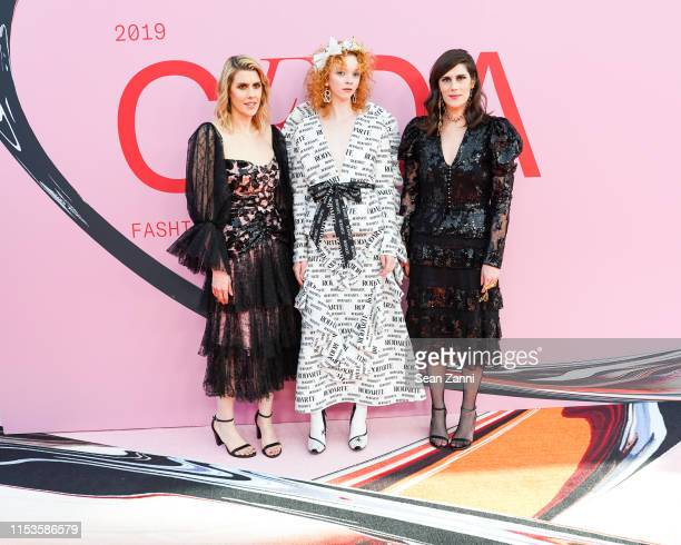 Laura Mulleavy Lily Nova and Kate Mulleavy attend the 2019 CFDA Fashion Awards Arrivals at Brooklyn Museum on June 03 2019 in New York City