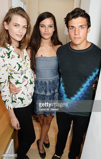 Laura Mullen Evangeline Ling and Nathaniel Jarning attends a private view of the Fashion Illustration Gallery summer show at The Mayor Gallery on...