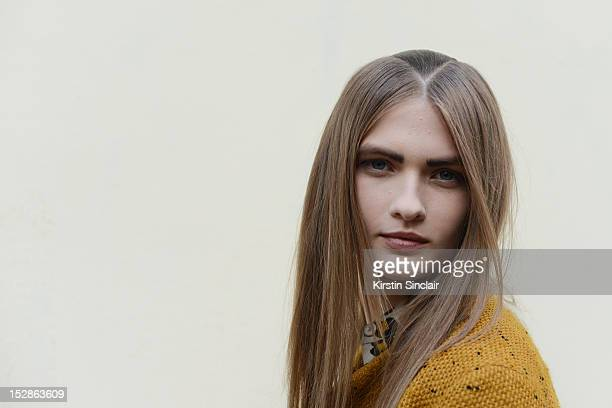 Laura Mullen, model wearing an APC dress and Phillip Lim jacket on day 3 of Paris Fashion Week Womenswear Spring/Summer 2013, on September 27, 2012...