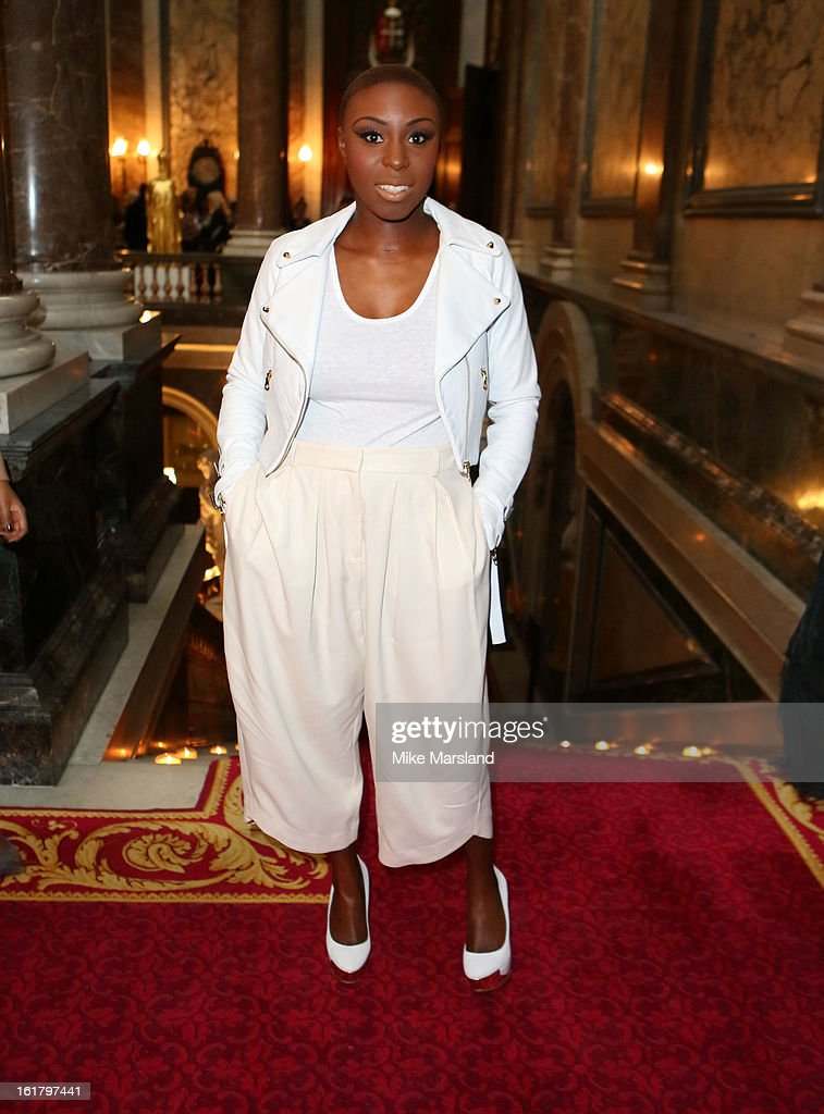 Laura Mvula attends the Julien Macdonald show during London Fashion Week Fall/Winter 2013/14 at Goldsmiths' Hall on February 16, 2013 in London, England.