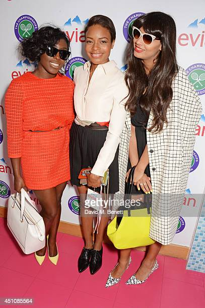 Laura Mvula Naomie Harris and Jameela Jamil attend the evian Live Young suite on the opening day of Wimbledon at the All England Lawn Tennis and...