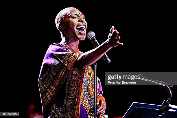 Laura Mvula perfoms live at Port Of Rotterdam on July 12 2015 in Rotterdam Netherlands