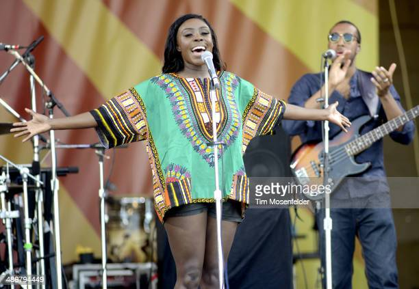 Laura Mvula performs during the 2014 New Orleans Jazz Heritage Festival at Fair Grounds Race Course on April 25 2014 in New Orleans Louisiana
