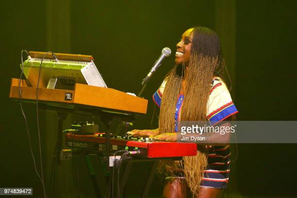 Laura Mvula performs live on stage in support of David Byrne at New Theatre on June 14 2018 in Oxford England