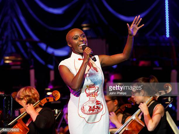 Laura Mvula performs on Day 3 of The Henley Festival on July 10 2015 in HenleyonThames England