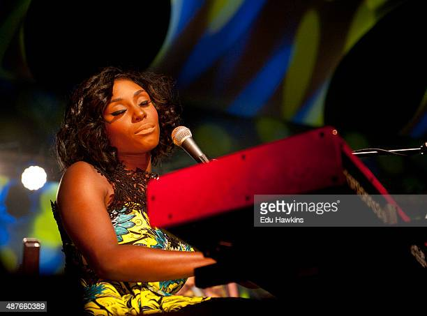 Laura Mvula performs on stage in the Big Top during Cheltenham Jazz Festival on May 1 2014 in Cheltenham United Kingdom