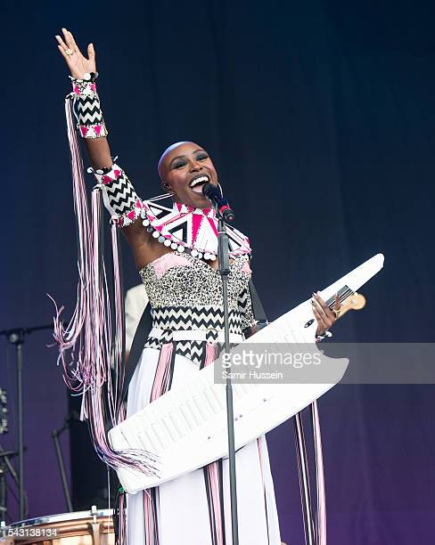 Laura Mvula performs on the Pyramid Stage at Glastonbury Festival 2016 at Worthy Farm Pilton on June 25 2016 in Glastonbury England