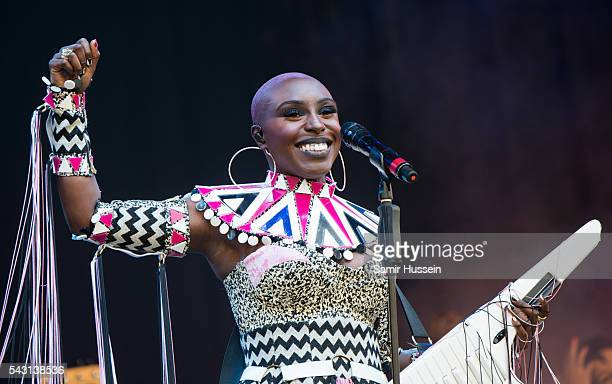 Laura Mvula performs on the Pyramid Stage at Glastonbury Festival 2016 at Worthy Farm Pilton on June 25 2016 in Glastonbury England