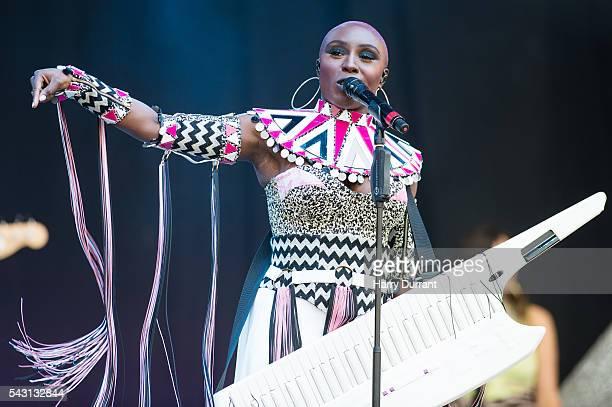 Laura Mvula performs on The Pyramid Stage Glastonbury Festival 2016 at Worthy Farm Pilton on June 26 2016 in Glastonbury England