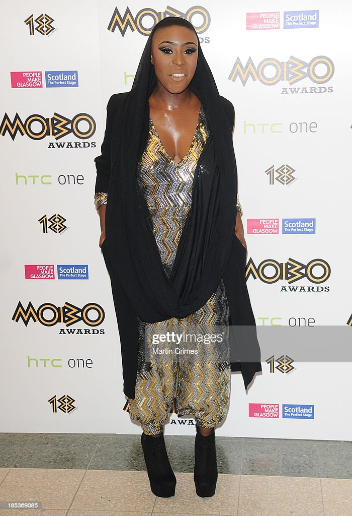 Laura Mvula poses at the 18th anniversary MOBO Awards at The Hydro on October 19, 2013 in Glasgow, Scotland.