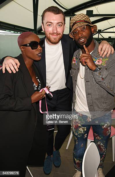 Laura Mvula, Sam Smith and Tinie Tempah attend the evian Live Young suite during Wimbledon 2016 at the All England Tennis and Croquet Club on June...
