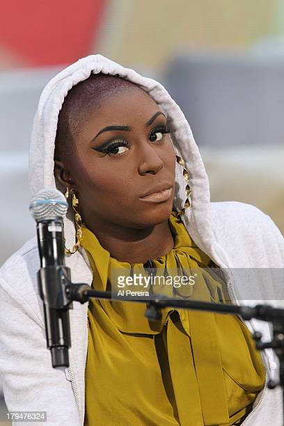 Laura Mvula waits for a cue when she peforms on NBC's 'Today' at Rockefeller Plaza on September 4 2013 in New York City