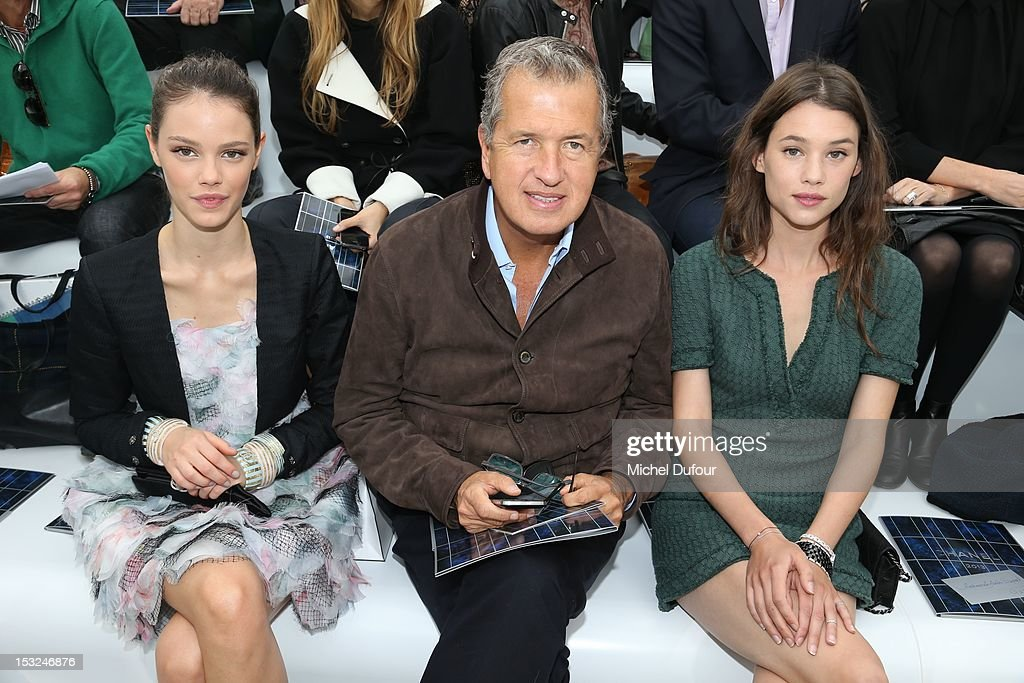 Laura Neiva, Mario Testino and Astrid Berges Frisbey attend the Chanel Spring / Summer 2013 show as part of Paris Fashion Week at Grand Palais on October 2, 2012 in Paris, France.