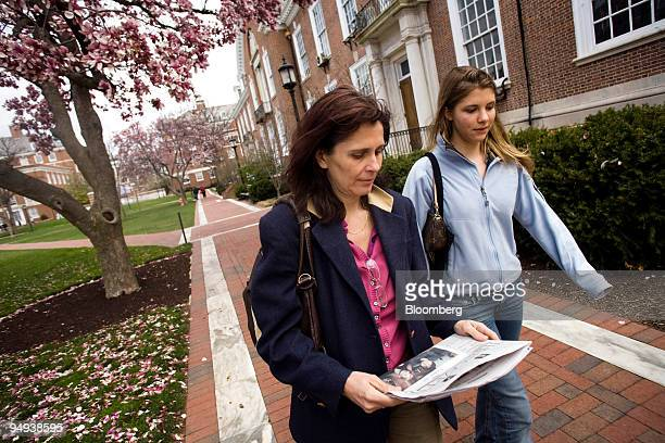 Laura Noisten aged 18 and her mother Margo Noisten both of Skillman New Jersey tour the campus at Johns Hopkins University during a welcoming for...