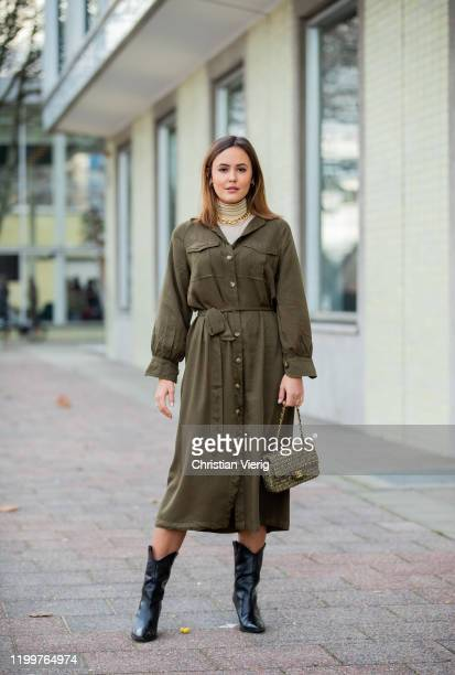 Laura Noltemeyer is seen wearing olive green button up dress Chanel bag black cowboy boots during the Berlin Fashion Week Autumn/Winter 2020 on...