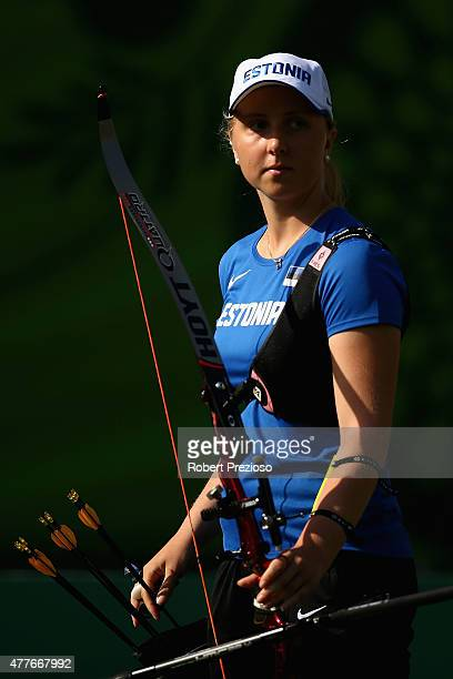 Laura Nurmsalu of Estonia competes against Alicia Marin of Spain in the Archery Women's Individual 1/32 Elemination during day seven of the Baku 2015...