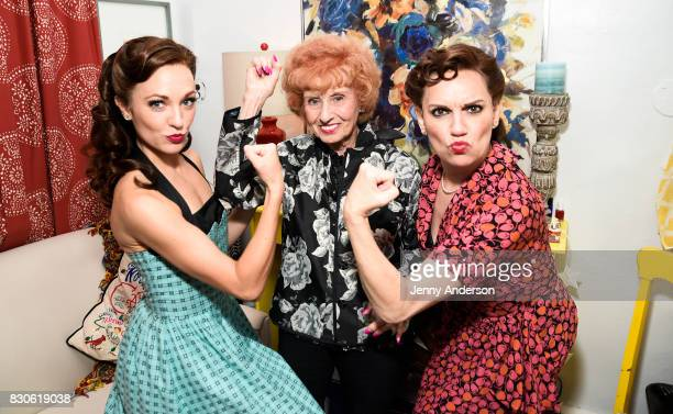 Laura Osnes America's Longest Working Rosie the Riveter 97 year old Elinor Otto and Beth Level backstage at Bandstand on Broadway at Bernard Jacobs...
