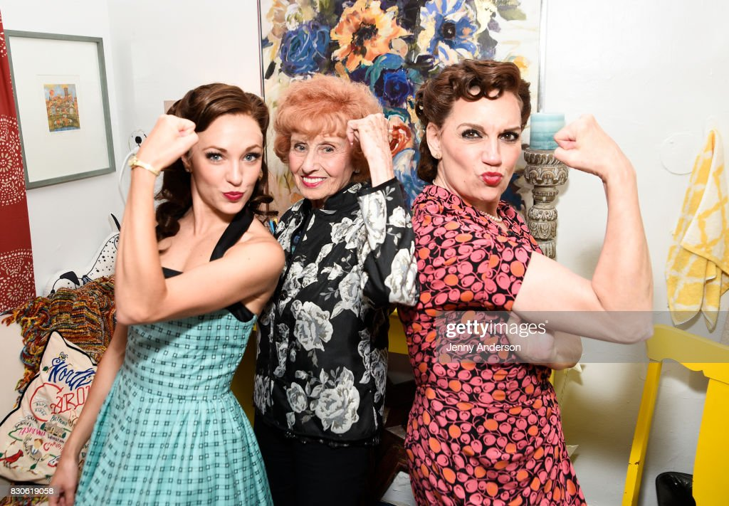 Laura Osnes, America's Longest Working 'Rosie the Riveter' 97 year old Elinor Otto and Beth Level backstage at 'Bandstand' on Broadway at Bernard Jacobs Theater on August 11, 2017 in New York City.