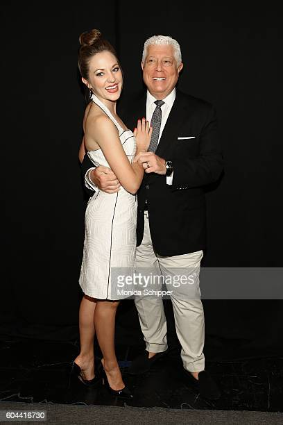 Laura Osnes and designer Dennis Basso pose for a photo backstage at the Dennis Basso fashion show during New York Fashion Week The Shows at The Arc...