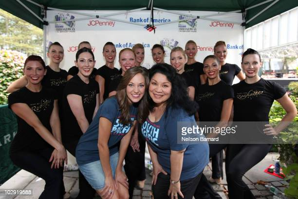 Laura Osnes and Lorretta Ables Sayre from the Broadway show South Pacific and The Radio City Rockettes from the Radio City Christmas Spectacular pose...