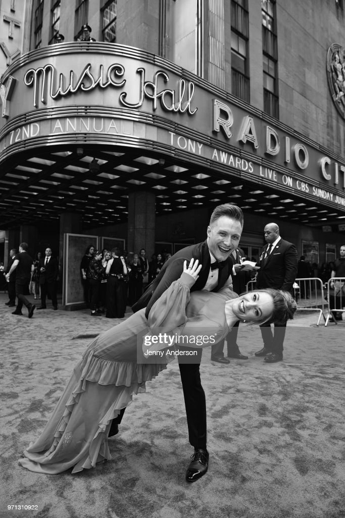 Laura Osnes and Nathan Johnson attend the 72nd Annual Tony Awards at Radio City Music Hall on June 10, 2018 in New York City.