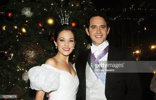 Laura Osnes and Santino Fontana attend the New York Palace Tree Lighting on November 29 2012 in New York City
