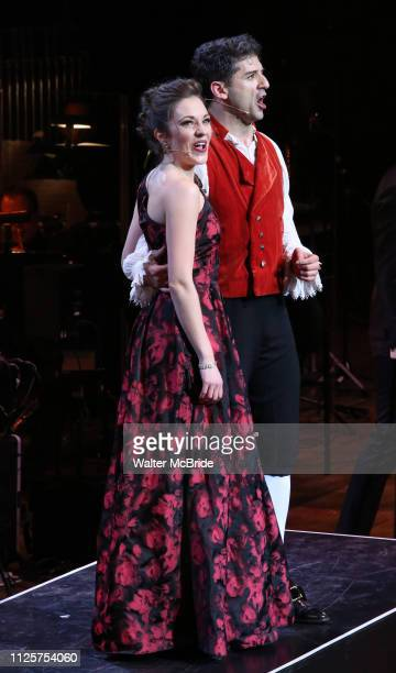 Laura Osnes and Tony Yazbeck performing during the MCP Production of 'The Scarlet Pimpernel' Concert at the David Geffen Hall on February 18 2019 in...