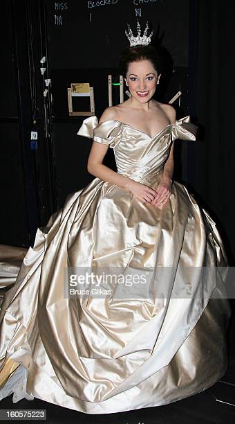 Laura Osnes as 'Cinderella' poses backstage at the hit musical 'Cinderella' on Broadway at The Broadway Theater on February 2 2013 in New York City