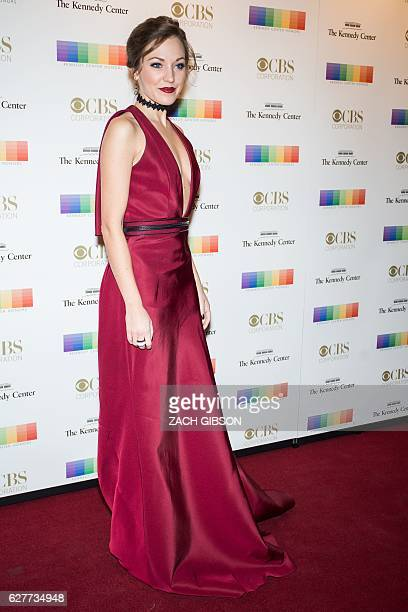 Laura Osnes poses on the red carpet before the 39th Annual Kennedy Center Honors December 4 2019 in Washington DC / AFP / ZACH GIBSON