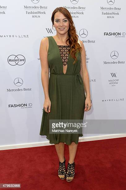 Laura Osswald attends the Guido Maria Kretschmer show during the MercedesBenz Fashion Week Berlin Spring/Summer 2016 at Brandenburg Gate on July 8...
