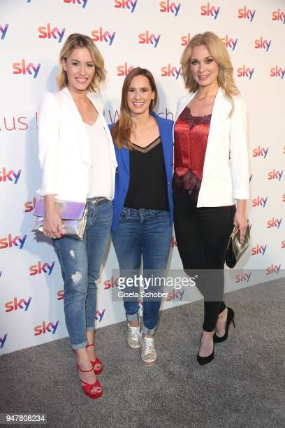Laura Papendick Christina Rann Britta Hofmann during the launch event for 'Das neue Sky' on April 17 2018 in Munich Germany