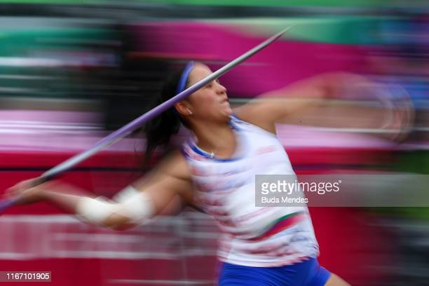 Laura Paredes of Paraguay competes in Women's Javelin Throw Final on Day 14 of Lima 2019 Pan American Games at Athletics Stadium of Villa Deportiva...