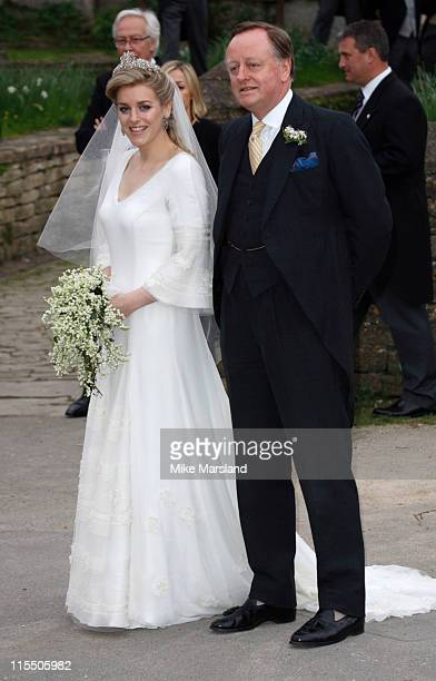 Laura Parker Bowles and Andrew Parker Bowles during Laura Parker Bowles and Harry Lopes Wedding at St Cyriac's Church in Lacock Great Britain