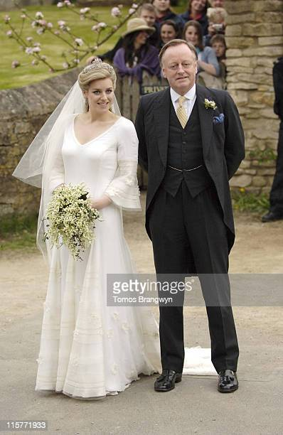 Laura Parker Bowles and Andrew Parker Bowles during Laura Parker Bowles and Harry Lopes – Wedding at St Cyriac's Church in Lacock Great Britain