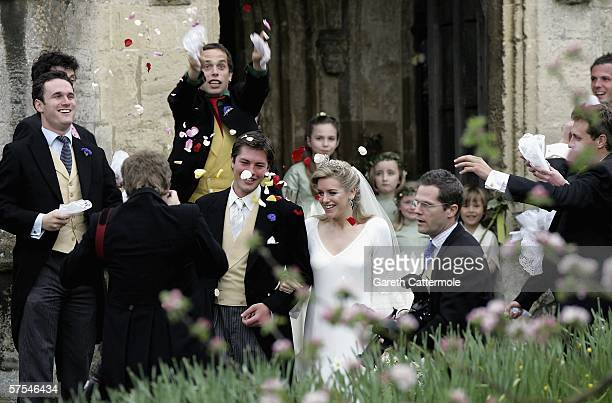 Laura Parker Bowles and Harry Lopes depart after their wedding at St Cyriac's Church Lacock on May 6 2006 in Wiltshire England 26year old Laura and...