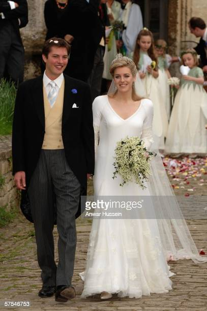 Laura Parker Bowles and Harry Lopes depart from their wedding at St Cyriac's Church Lacock on May 6 2006 in Wiltshire England 26year old Laura and...