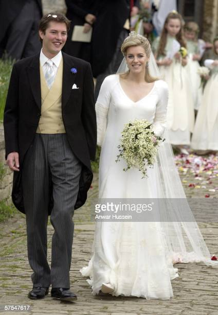 Laura Parker Bowles and Harry Lopes depart their wedding at St Cyriac's Church Lacock on May 6 2006 in Wiltshire England 26year old Laura and 29year...