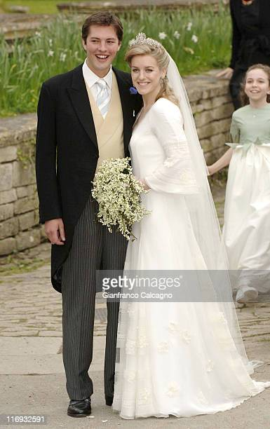 Laura Parker Bowles and Harry Lopes during Laura Parker Bowles and Harry Lopes Wedding Outside Arrivals at St Cyriac's Church in Lacock Great Britain