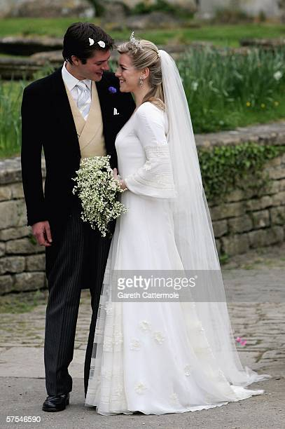 Laura Parker Bowles and Harry Lopes pose as they depart after their wedding at St Cyriac's Church Lacock on May 6 2006 in Wiltshire England 26year...