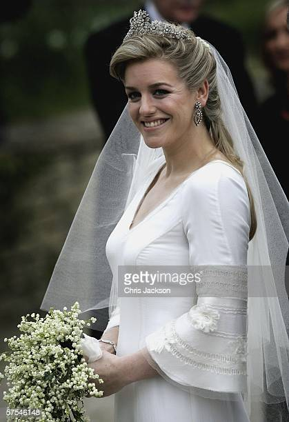 Laura Parker Bowles arrives for her wedding to Harry Lopes at St Cyriac's Church Lacock on May 6 2006 in Wiltshire England 26year old Laura daughter...