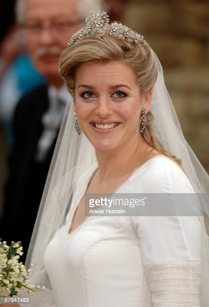 Laura Parker Bowles arrives for her wedding to Harry Lopes at St Cyriac's Church Lacock on May 6 2006 in Wiltshire England 26year old Laura and...