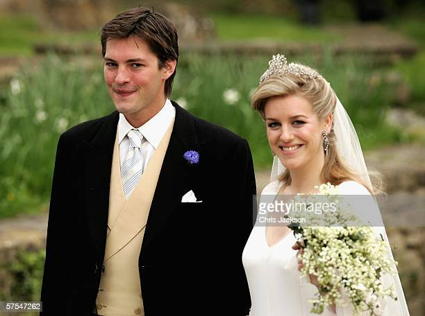 Laura Parker Bowles leaves church having married Harry Lopes at St Cyriac's Church Lacock on May 6 2006 in Wiltshire England 26year old Laura and...