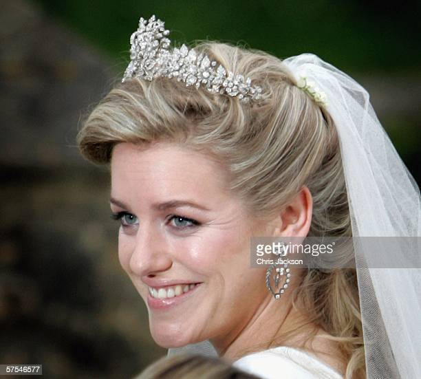 Laura Parker Bowles leaves St Cyriac's Church Lacock having married Harry Lopes on May 6 2006 in Wiltshire England 26year old Laura and 29year old...