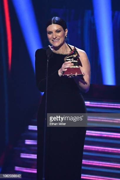 Laura Pausini accepts the award for Best Traditional Pop Vocal Album for 'Hazte Sentir' onstage during the 19th annual Latin GRAMMY Awards at MGM...