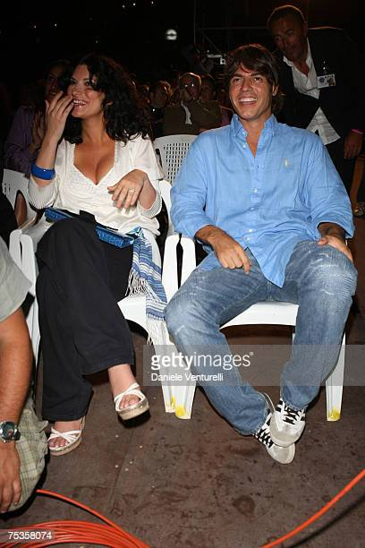Laura Pausini and Paolo Carta attend day two of the Ischia Global Film And Music Festival on July 10 2007 in Ischia Italy