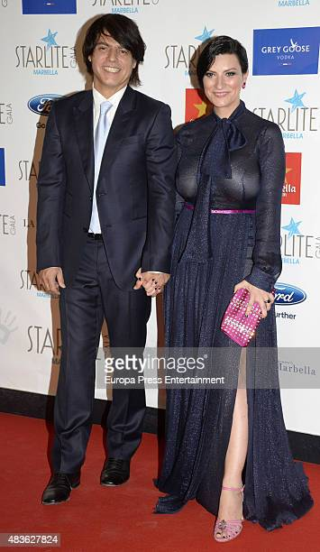 Laura Pausini and Paolo Carta attend Starlite Gala on August 9 2015 in Marbella Spain