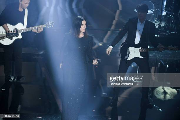 Laura Pausini and Paolo Carta attend the closing night of the 68 Sanremo Music Festival on February 10 2018 in Sanremo Italy