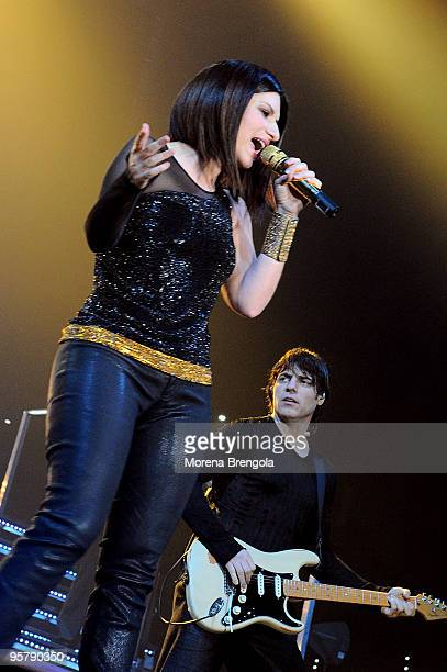 Laura Pausini and Paolo Carta perform at forum on March 05 2009 in Turin Italy